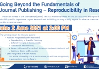 Going Beyond the Fundamentals of Journal Publishing - Reproducibility in Research
