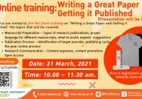 Online training: Writing a Great Paper and Getting it Published (Presentation will be English) via Zoom